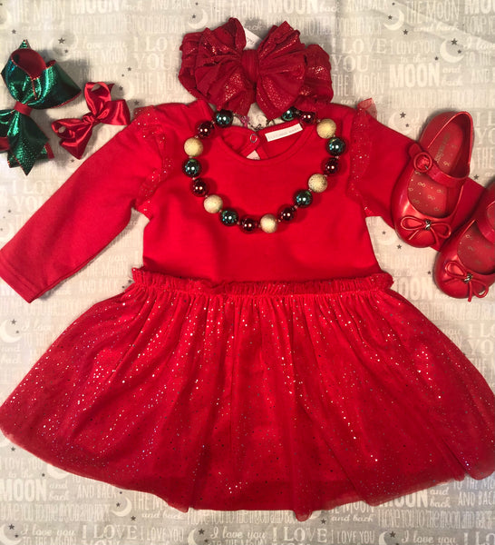 RED SPARKLE CHRISTMAS DRESS