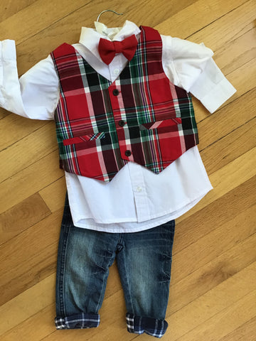 COTTON KIDS PLAID VEST