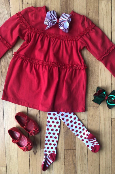 RED COTTON TUNIC DRESS