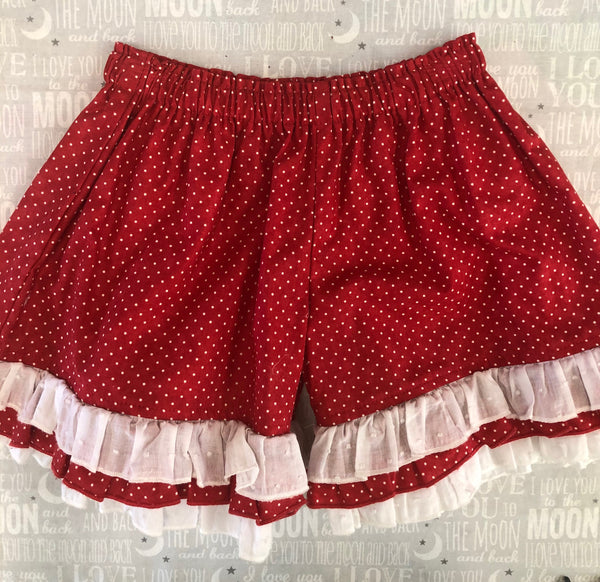 PERSNICKETY RED RUFFLED SHORTIES