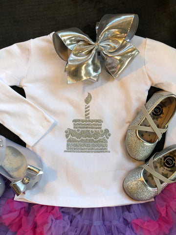 SILVER SPARKLE FIRST BIRTHDAY TEE