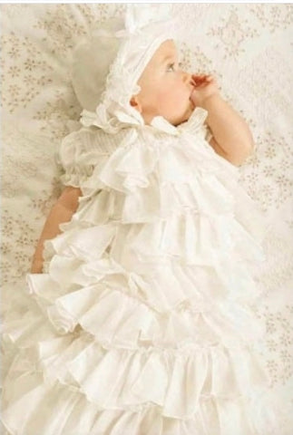 BABY BISCOTTI ANTIQUE WHITE CHRISTENING GOWN AND HAT SET
