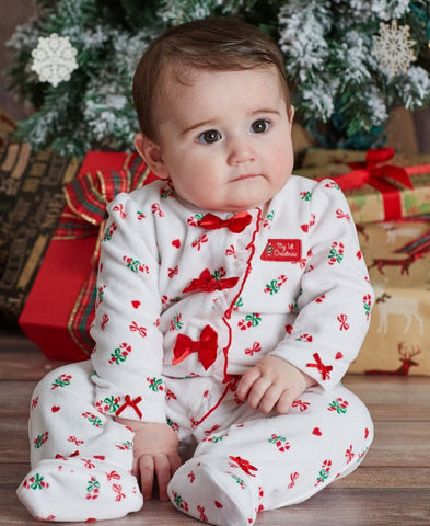 HOLIDAY CANDY CANE VELOUR FOOTED ROMPER