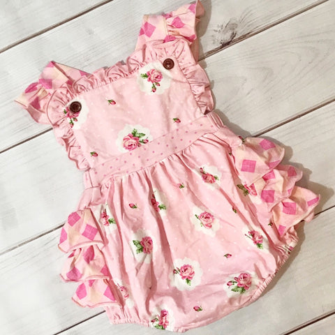 SWOON BABY PINK POSEY FRILLY BUBBLE ROMPER
