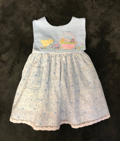 COTTON KIDS BLUE BUNNY DRESS