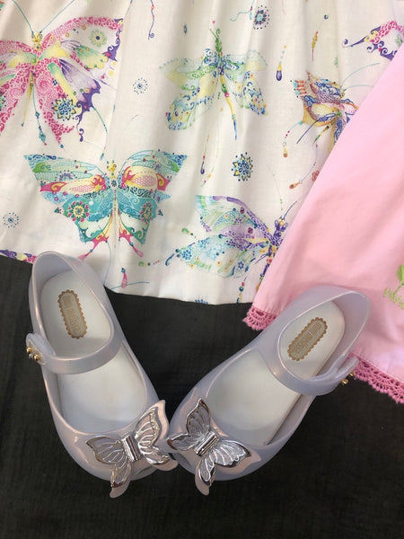 MINI MELISSA SILVER/WHITE BUTTERFLY SHOES