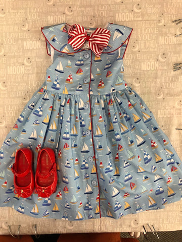 COTTON KIDS SAILBOAT DRESS