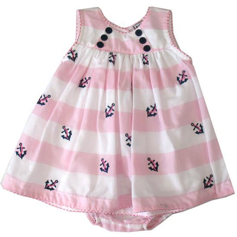 Cotton Kids Pink Anchor Dress