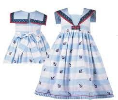 COTTON KIDS BLUE ANCHOR DRESS