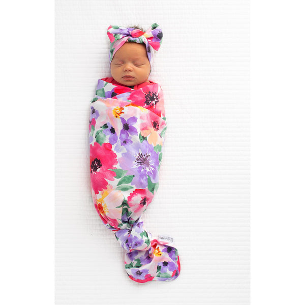 FLOWERS EVERYWHERE SWADDLE & HEADBAND