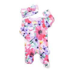 FLOWERS EVERYWHERE ROMPER with HEADBAND