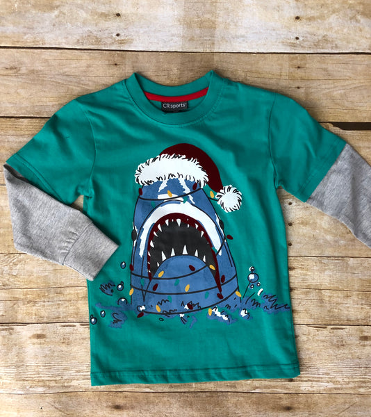 SANTA SHARK TWOFER TEE