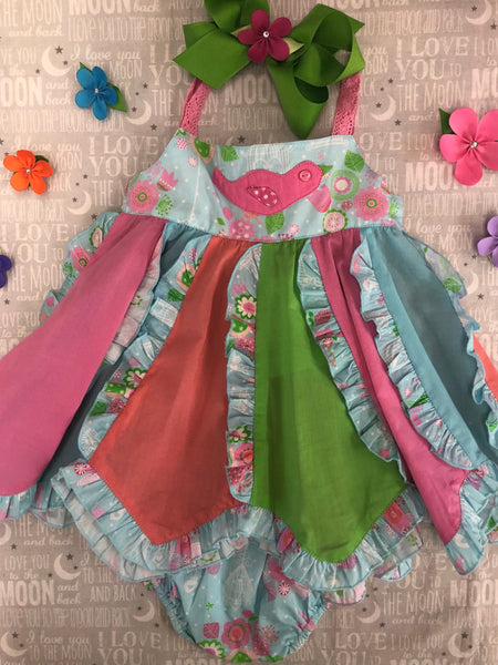 Cotton Kids Ruffled Birdie Sundress & Diaper Cover