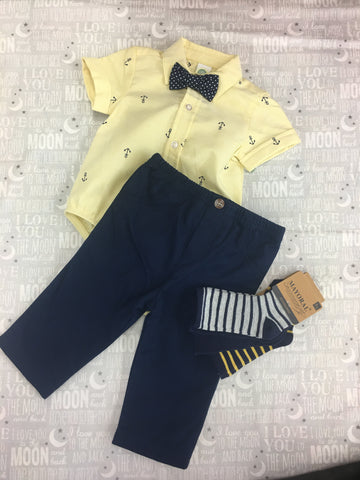 Anchor onesie with woven pant set
