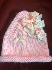 Pink Bow Knit Hat