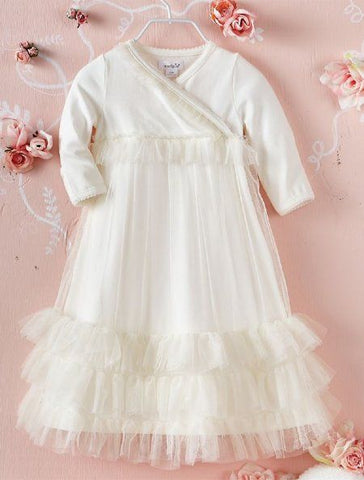 MUD PIE WHITE GOWN WITH CHIFFON RUFFLE COMING HOME