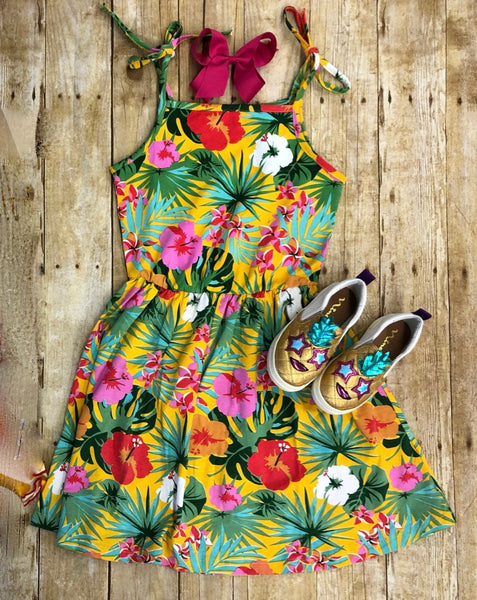 HIBISCUS AND PALM DRESS