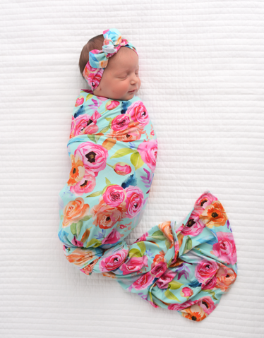 TESSA SWADDLE & HEADBAND BAMBOO