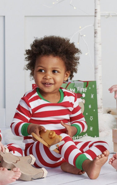 CHRISTMAS RED/WHITE STRIPE PAJAMAS