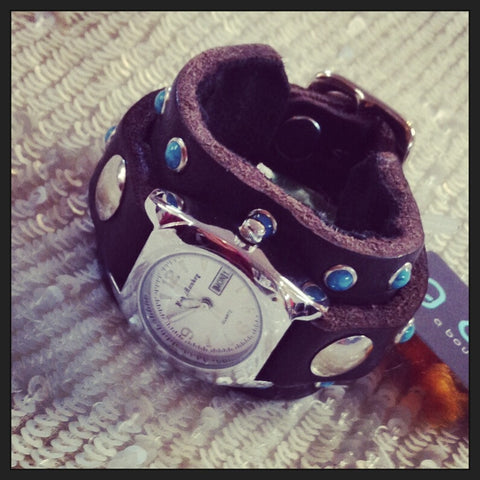 Authentic Leather & Turquoise Studded Watch