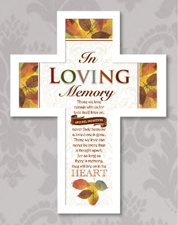 Wood Message Cross 10 3/4 inch/Loving Memory