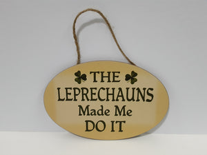 leprechauns wooden plaque