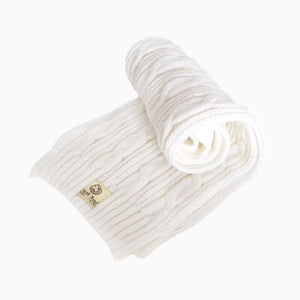Man Of Aran Men's Cable Knit Scarf White