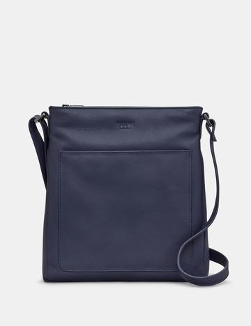 BRYANT NAVY LEATHER CROSS BODY BAG