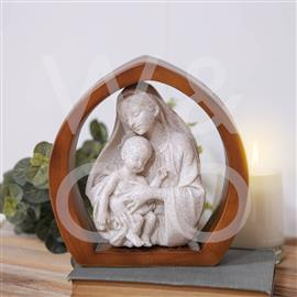 FAITH & HOPE WOOD & STONE FINISH STATUE - MARY & BABY JESUS