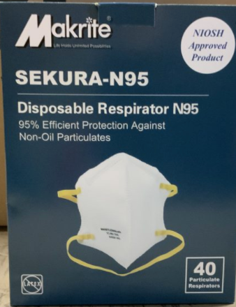 Makrite Sekura N95 NIOSH Approved Masks (Half Case of 240)