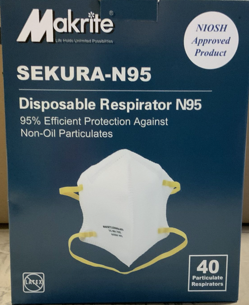 Makrite Sekura N95 NIOSH Approved Masks (Box of 40)