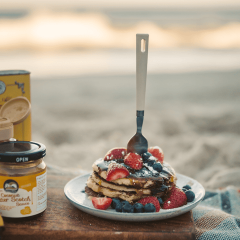 Add fresh berries or any favorite topping to your campfire pancakes