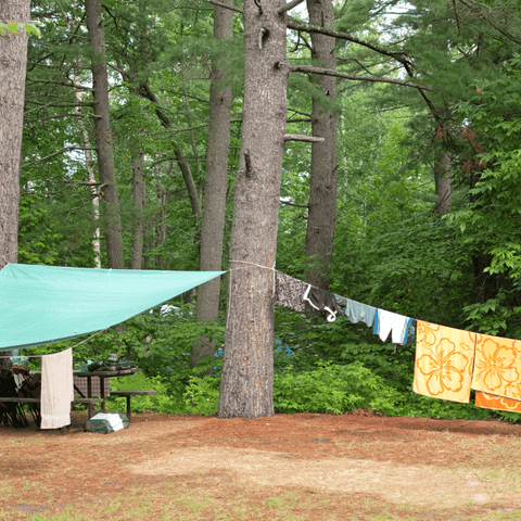 Camping for more than one night? Put up a clothesline.