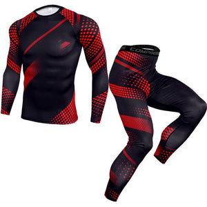 Men's Sportswear Sports Suits Gym Compression Suit Running Clothes MMA Fitness Bodybuilding Training Tights Long Sleeves+Pants