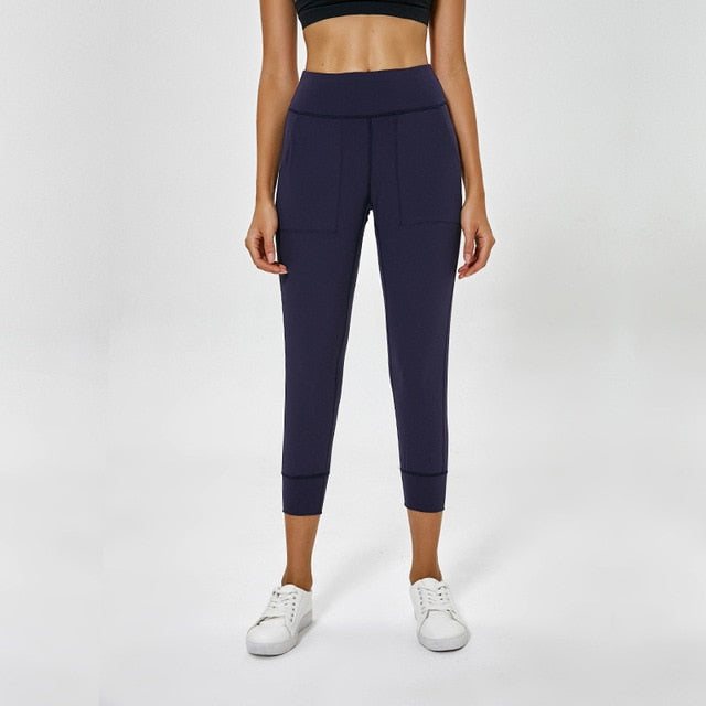 Capris Back Waist Crop Running Leggings-FitnessLab