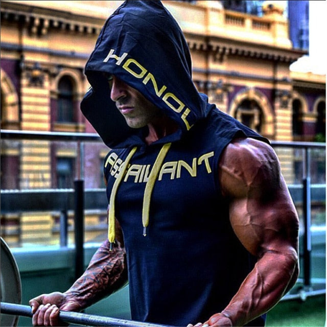 YEMEKE 2018 Mens Cotton Hoodie Sweatshirts fitness clothes bodybuilding tank top men Sleeveless Trend Tees Shirt Casual vest