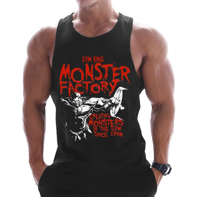 Casual Printed Tank Tops Men Bodybuilding Sleeveless Shirt Cotton Gym Fitness Workout Clothes Stringer Singlet Male Summer Vest