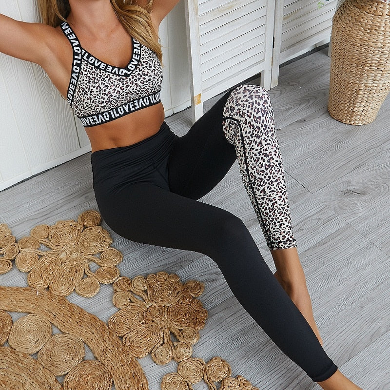 Leopard Print Women Yoga Sets