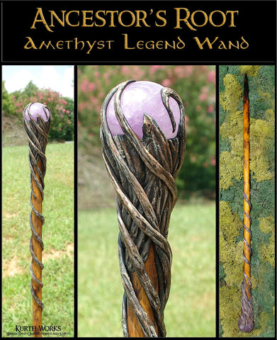 Ancestor's Root Amethyst Crystal Magic Wizard Wand