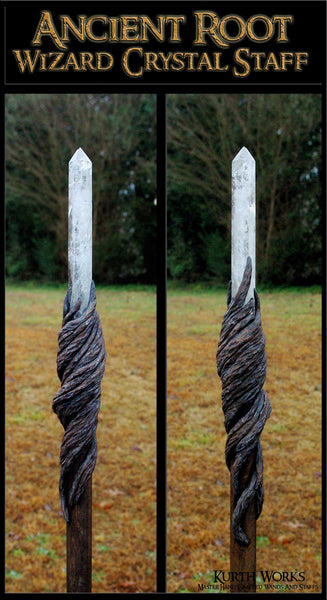 Ancient Root Wizard Crystal Point Magic Staff
