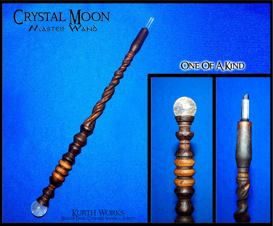 Crystal Moon Spiraled Wizard Magic Wand