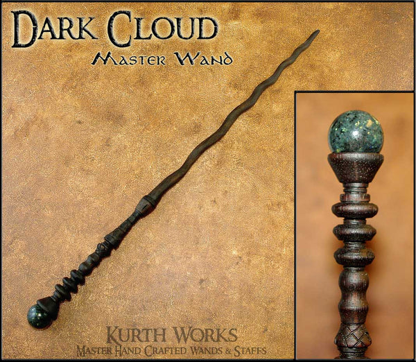 Dark Cloud Moon Stone Spiraled Wizard Magic Wand