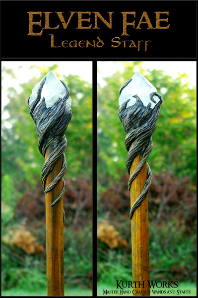 Elven Fae Wizard Crystal Magic Staff