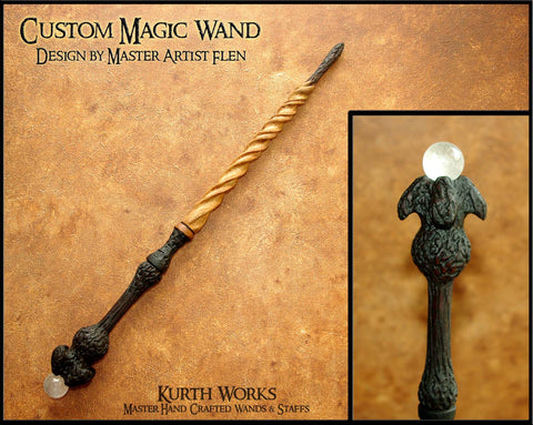 Custom Wizard Spiraled Crystal Magic Wand