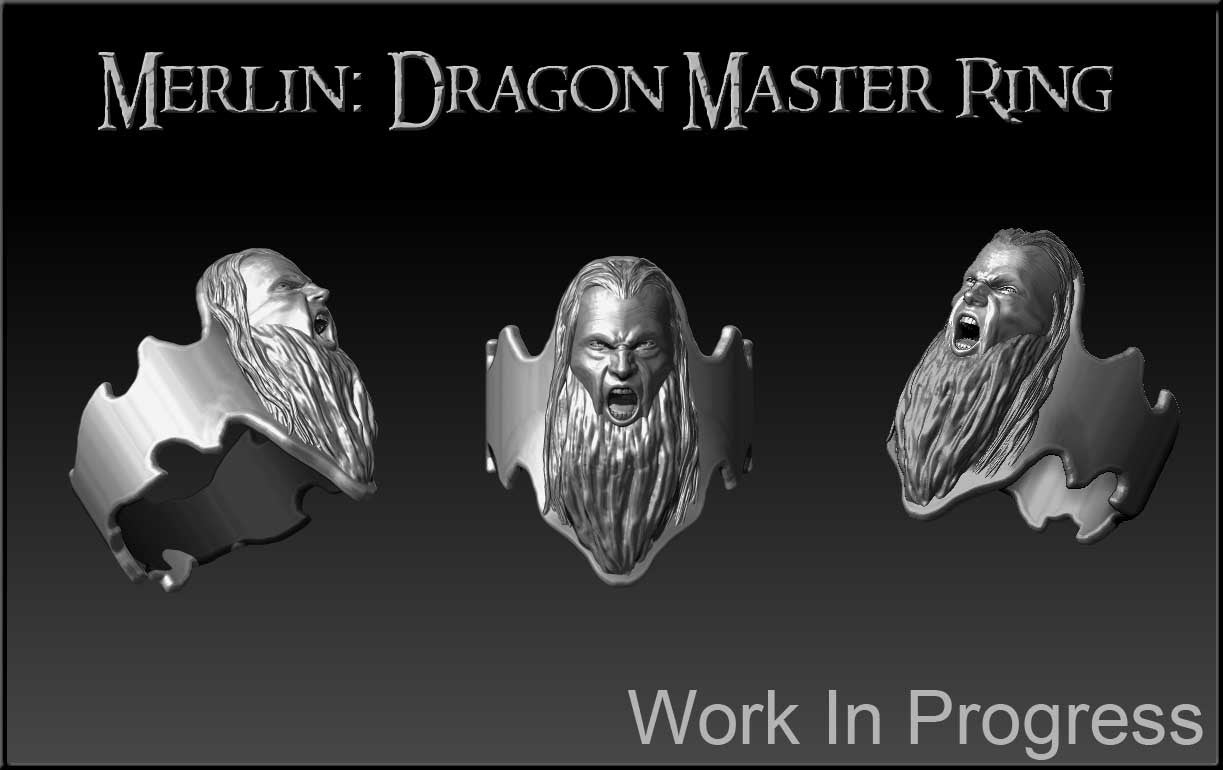 Merlin Dragon Master Silver Custom Ring