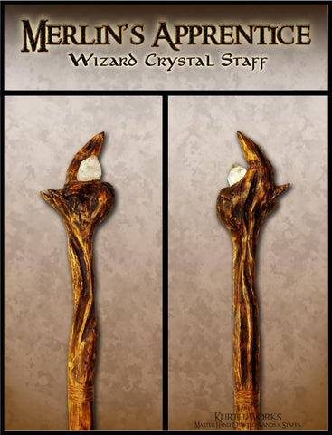Merlin's Apprentice Wizard Magic Crystal Staff