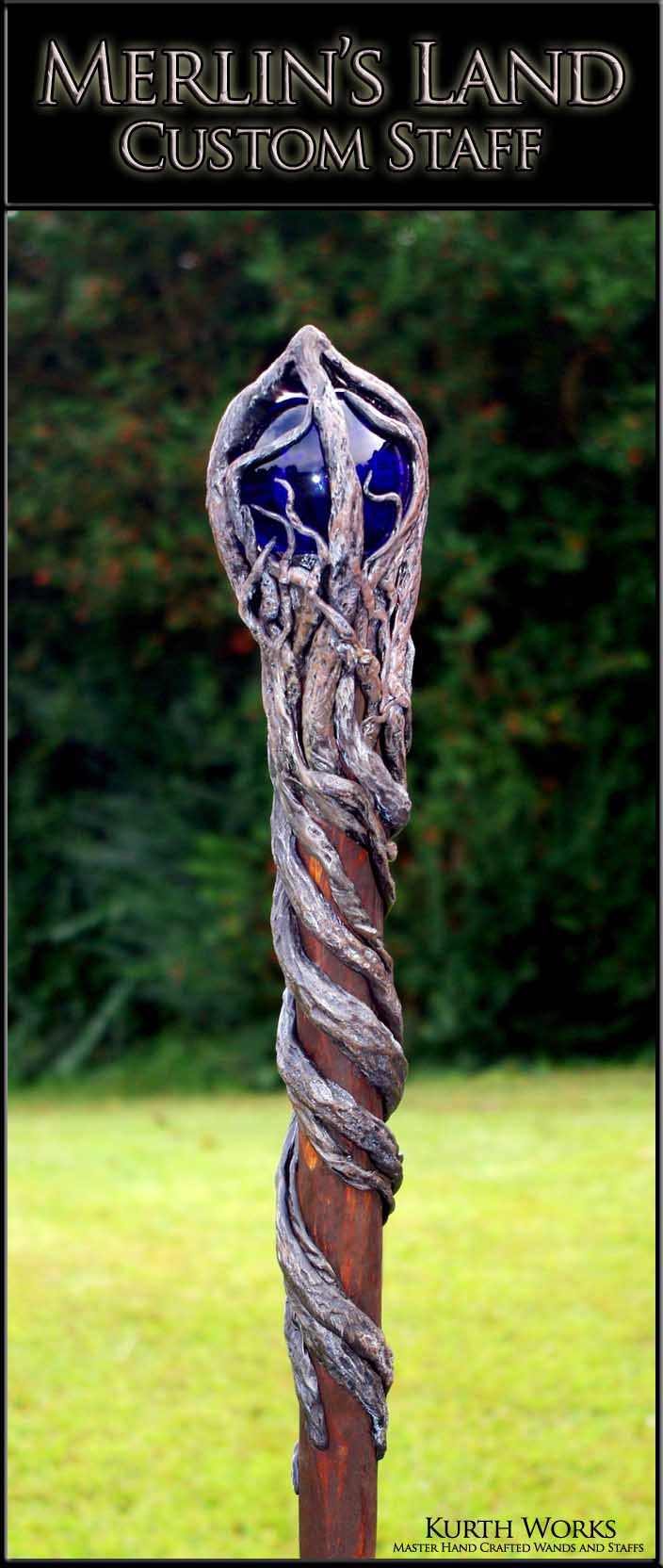 Merlin's Land Crystal Wizard Magic Staff
