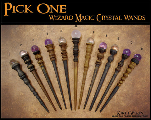 1. Pick One Magic Wizard Crystal Quartz Amethyst Wand