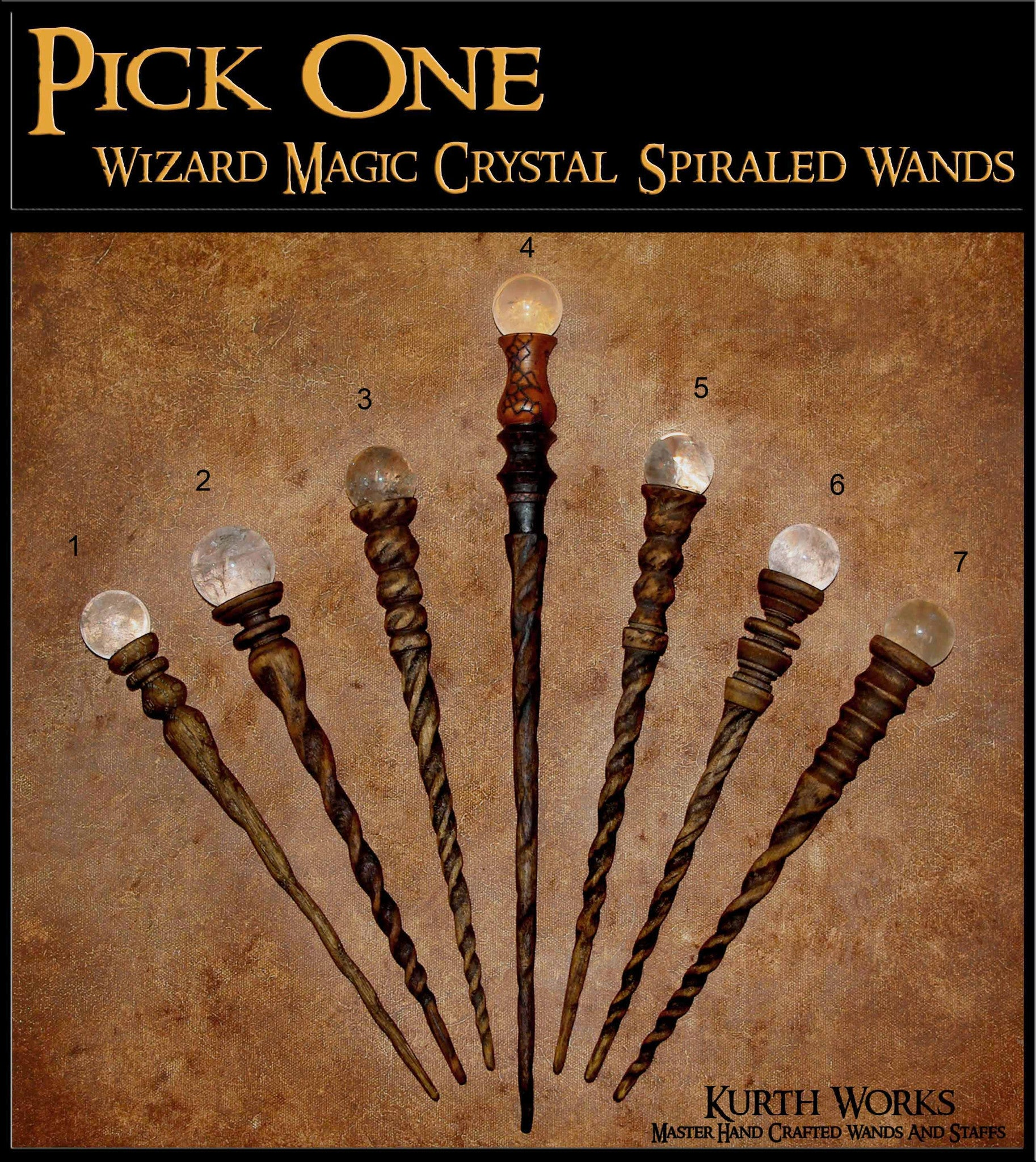 Pick One Magic Wizard Crystal Quartz Spiraled Oak Birch Wand