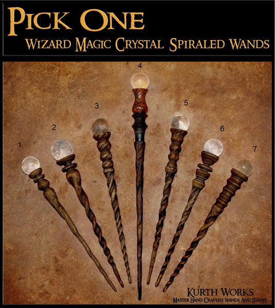 2. Pick One Magic Wizard Crystal Quartz Spiraled Oak Birch Wand